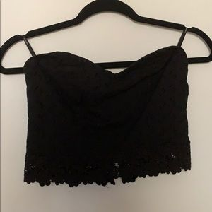 black lace strapless crop top
